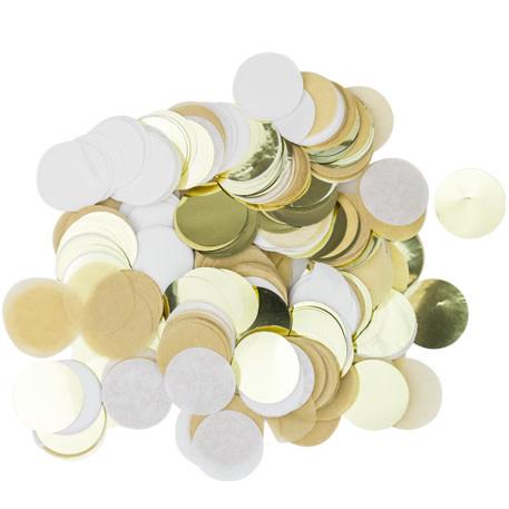 AF confetti paper kraft, white, gold 3cm 36 gr.