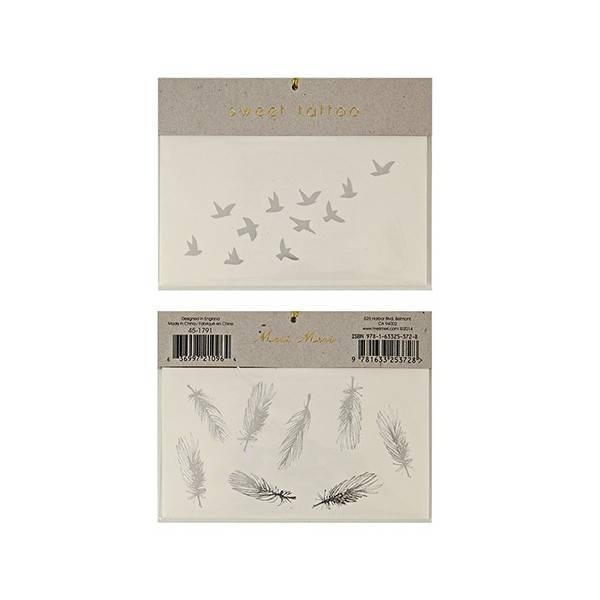 MERIMERI Silver Feather Tattoos