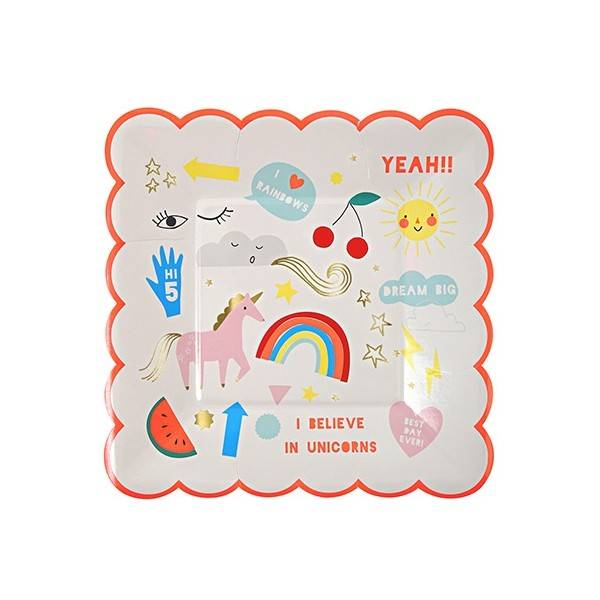 MERIMERI Rainbow & unicorn small plates