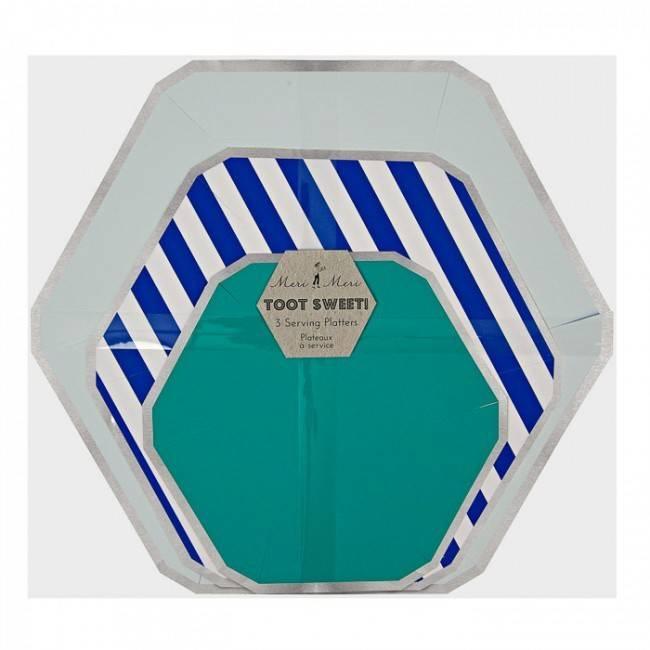 serving platters blue