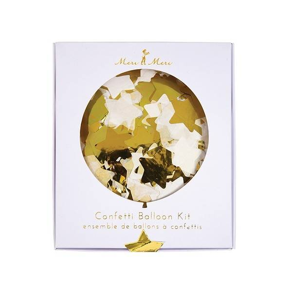 MERIMERI Gold star confetti balloons