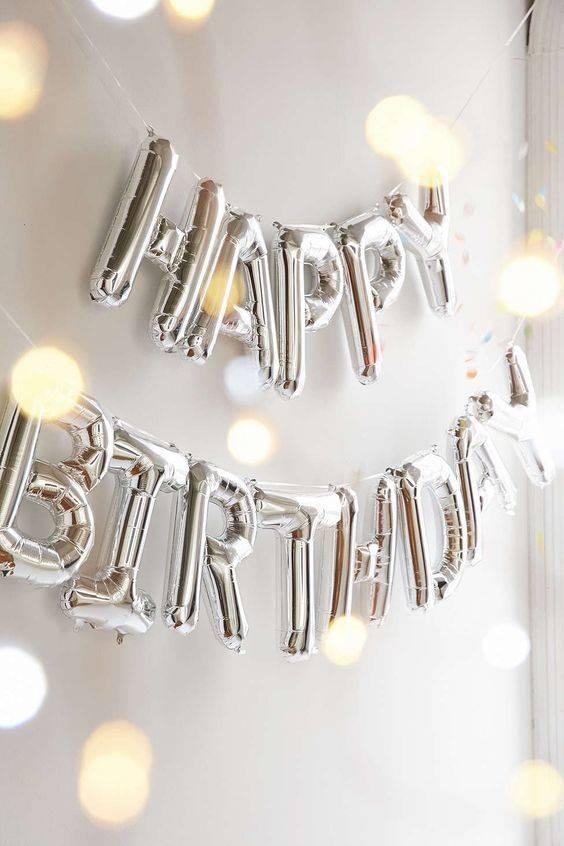 Happy birthday silver foilballoon