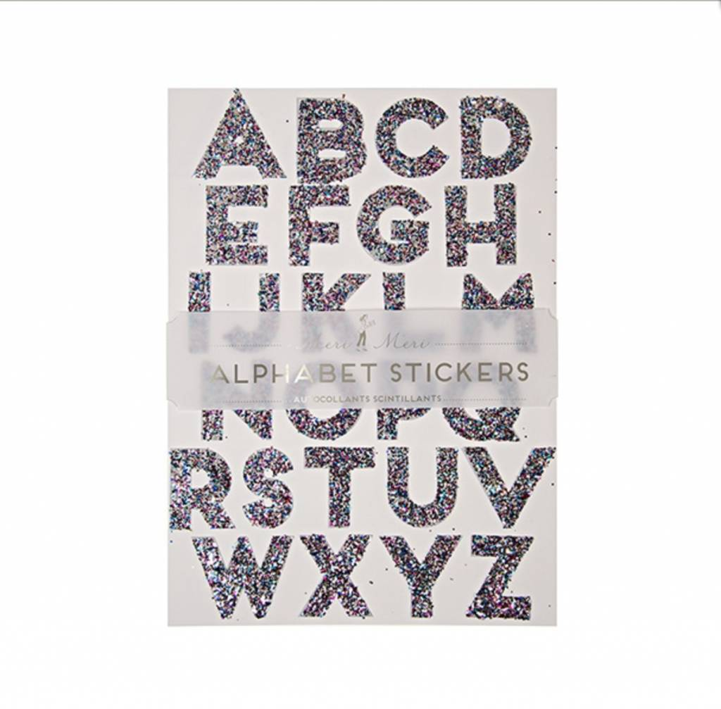MERIMERI Multicolor glitter alphabet stickers L