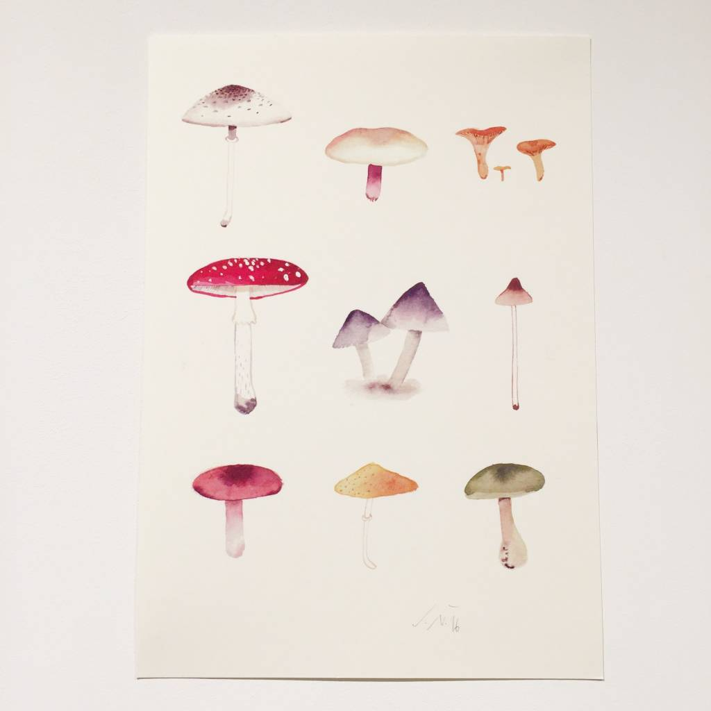 JOUJOU mushrooms poster a4