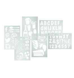 Stylepoint Krijtstift stencils verschillende prenten set 5st