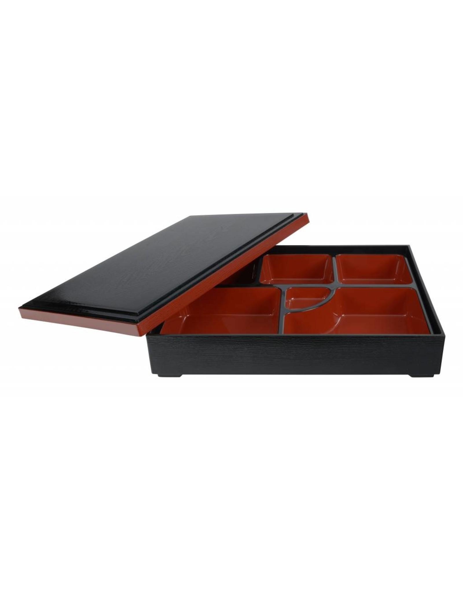 Tokyo Design Studio ABS Lacquerware Bento Box 35x26cm zwart/rood