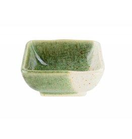 Tokyo Design Studio Vierkante sausschotel Choku Oribe 7.5x7.5cm grijs/groen