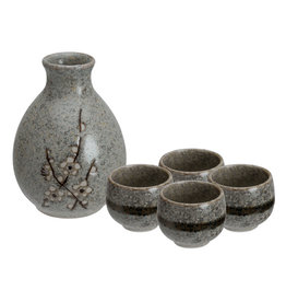 Tokyo Design Studio Grey Soshun Sake Set 3.7x12cm 290ml + 4 cups 50ml