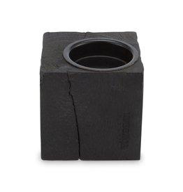 vtwonen Candle Block Square Reversable Wood Black 10x10x10cm