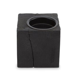 vtwonen Kaarsenblok vierkant keerbaar hout zwart 10x10x10cm