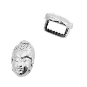 Zilver Leerschuiver metaal Buddha Ø5x2mm Zilver DQ