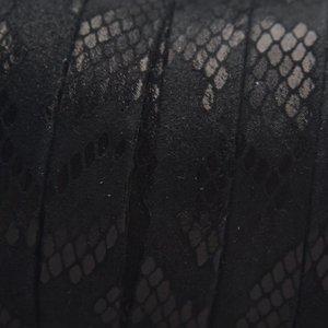 Zwart Plat nappa leer Snake matte Black 10x2mm - prijs per cm