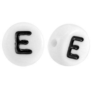 Wit Letterkraal acryl letter E wit 7mm - 10 stuks