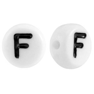 Wit Letterkraal acryl letter F wit 7mm - 10 stuks