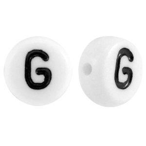 Wit Letterkraal acryl letter G wit 7mm - 10 stuks