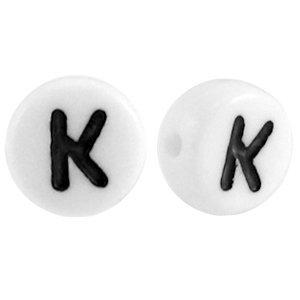 Wit Letterkraal acryl letter K wit 7mm - 10 stuks