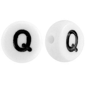 Wit Letterkraal acryl letter Q wit 7mm - 10 stuks