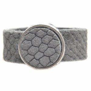 Grijs Ring Plat leer & leer cabochon breed DIY licht grijs