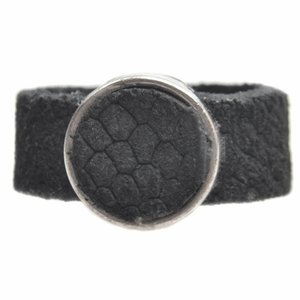 Zwart Ring Plat leer & leer cabochon breed DIY zwart