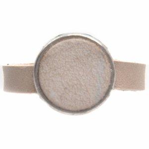 Bruin Ring Plat leer & leer cabochon groot DIY sand pearl