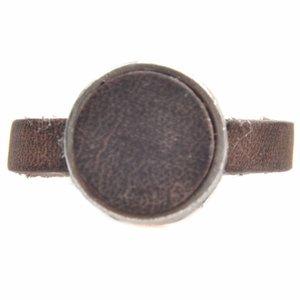Bruin Ring Plat leer & leer cabochon groot DIY smoked brown
