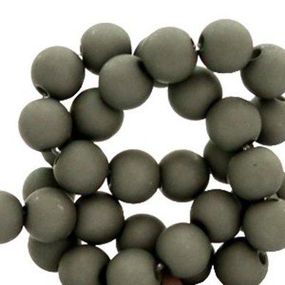 Grijs Acryl kralen mat Anthracite grey 8mm - 50 stuks