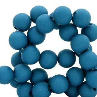 Blauw Acryl kralen mat Deep marine blue 8mm - 50 stuks