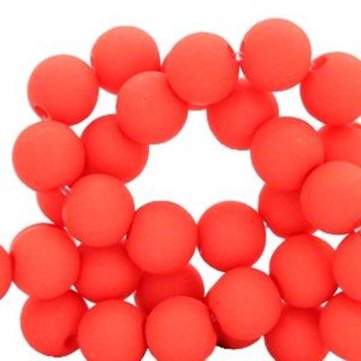 Rood Acryl kralen mat Deep coral red 8mm - 50 stuks