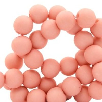 Roze Acryl kralen mat Shell pink 8mm - 50 stuks