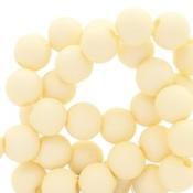 Geel Acryl kralen mat Vanilla yellow 8mm - 50 stuks