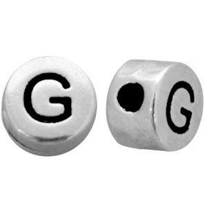 Zilver Metallook letterkralen letter G Antiek zilver 7mm -10 stuks