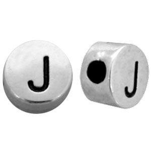 Zilver Metallook letterkralen letter J Antiek zilver 7mm -10 stuks