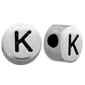 Zilver Metallook letterkralen letter K Antiek zilver 7mm -10 stuks