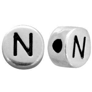 Zilver Metallook letterkralen letter N Antiek zilver 7mm -10 stuks