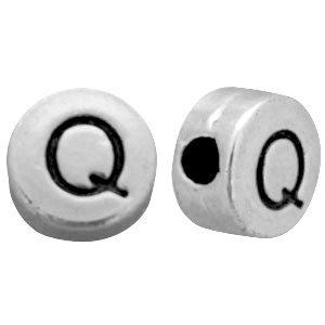 Zilver Metallook letterkralen letter Q Antiek zilver 7mm -10 stuks