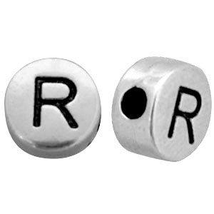 Zilver Metallook letterkralen letter R Antiek zilver 7mm -10 stuks