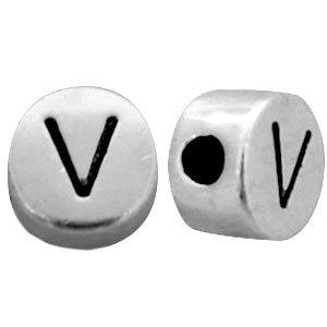Zilver Metallook letterkralen letter V Antiek zilver 7mm -10 stuks