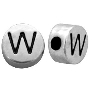 Zilver Metallook letterkralen letter W Antiek zilver 7mm -10 stuks