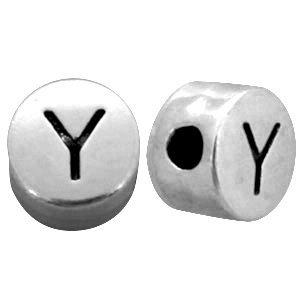 Zilver Metallook letterkralen letter Y Antiek zilver 7mm -10 stuks