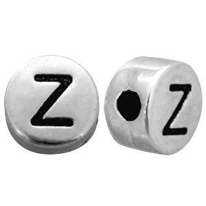 Zilver Metallook letterkralen letter Z Antiek zilver 7mm -10 stuks