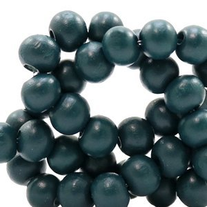 Blauw Houten kralen rond Dark petrol blue 8mm - 50 stuks