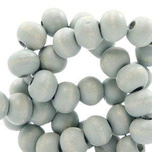 Grijs Houten kralen rond Mineral grey 8mm - 50 stuks