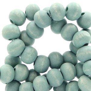 Blauw Houten kralen rond Dark aqua haze blue 8mm - 50 stuks