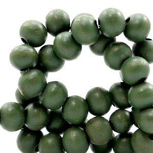 Groen Houten kralen rond Green 8mm - 50 stuks