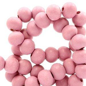 Roze Houten kralen rond Vintage pink 8mm - 50 stuks