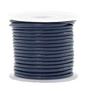 Blauw Rond leer Navy blue 2mm - per meter