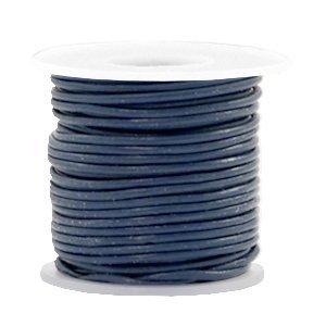 Blauw Rond leer Navy blue 1mm - per meter