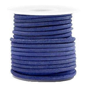 Blauw Rond leer Antique blue 3mm - per meter
