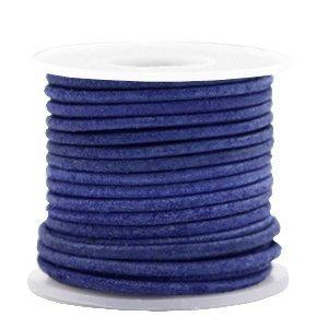 Blauw Rond leer Antique blue 2mm - per meter