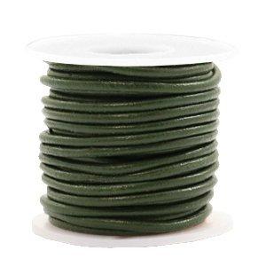 Groen Rond leer Army green metallic 2mm - per meter